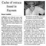 The Egyptian Gazzette, 27 dicembre 2010, H. Saadallah: «Cache of ostraca found in Fayoum»